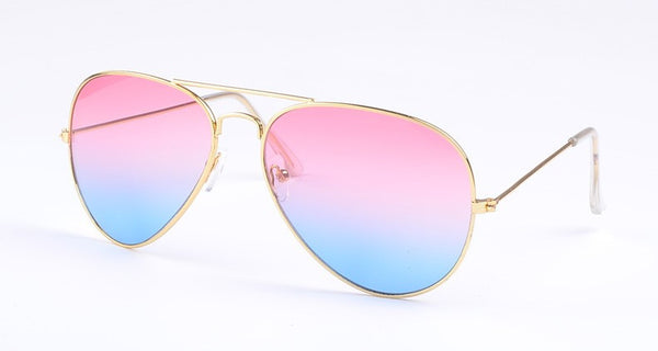 classic metal gold frame aviators with pink blue cotton candy lens aviator  pilot sunglasses shades shayde 48114c1326