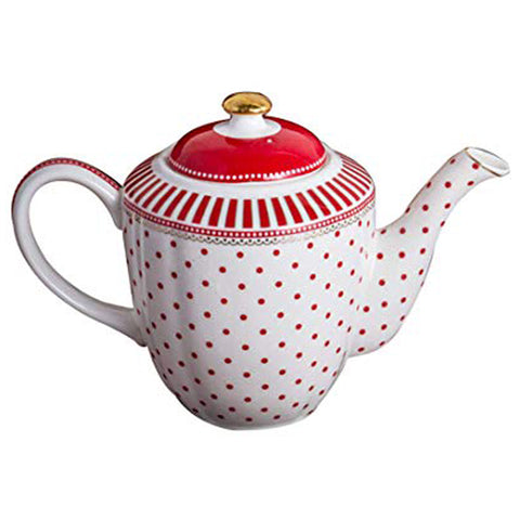 Red & White Polka Dot with Stripes Tea Set (by set or by piece)