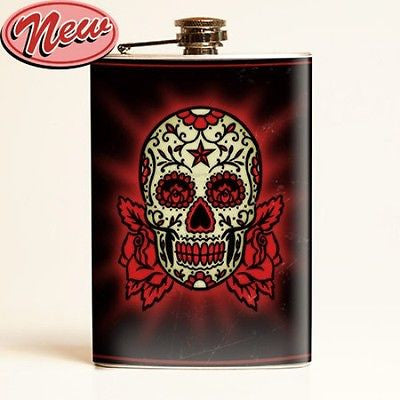 Sugar Skull Flask Day Of The Dead Dia De Los Muertos Tattoo Punk Rockabilly Emo
