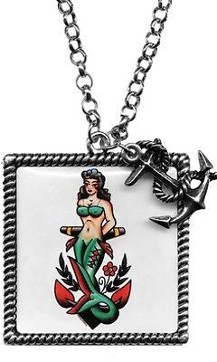 Nautical Nymph Frame Mermaid Necklace Anchor Sourpuss Tattoo Pinup Punk Retro