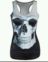 Skull Top Shirt Tank Goth Tattoo Rockabilly Punk Tee Pinup Day Of The Dead OS