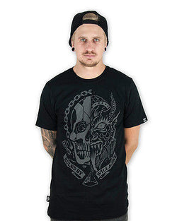 Tattoo Skull Devil Tee Shirt Punk Rockabilly Liquor Brand Mens Flash Horror Goth