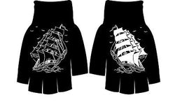 Gloves Pirate Ships Unisex Punk Tattoo Flash  Rockabilly Psychobilly Fingerless