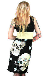 Too Fast Damned Dress Sugar Skull Staches Bondage Wiggle Pinup Punk Rockabilly