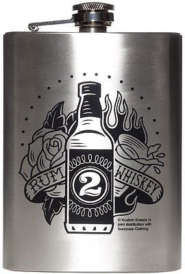 Sourpuss Kustom Kreeps Flask Rum To Whiskey Tattoo Punk Rockabilly Flash Liquor