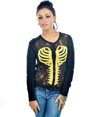 Too Fast Lace Front Cardigan Heart Skeleton Ribcage Sweater Tattoo Pinup Punk
