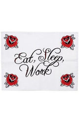 Tattoo Sourpuss Eat Sleep Work Pillow Cases Set Punk Bedding Rockabilly Roses