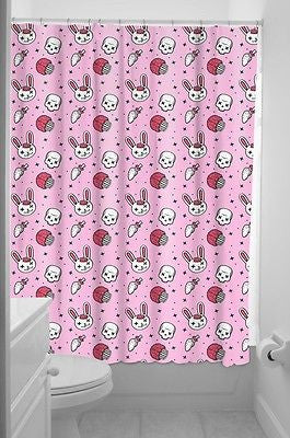 Sourpuss Bunny Zombie Punk Pinup Shower Curtain Tattoo Cupcakes Kitsch Goth Pink