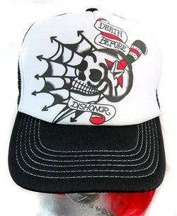 Tattoo Flash Skull Hat Death Before Dishonor Punk Goth Rockabilly Spider Web Emo