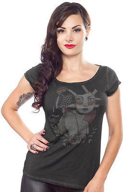 Sourpuss Raven Top Shirt Flapper Tattoo Rockabilly Punk Goth Tee Pinup Vintage