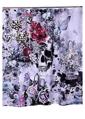 Tattoo Skull Flowers Shower Curtain Rockabilly Pinup Punk Day Of The Dead Goth
