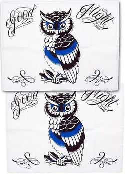Tattoo Sourpuss Good Night Owl Pillow Cases Set Punk Bedding Rockabilly Pinup
