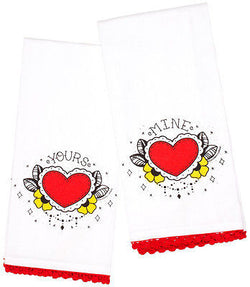 Sourpuss Yours Mine Tea Hand Towel Kitchen Set Tattoo Punk Bath Wedding Hearts
