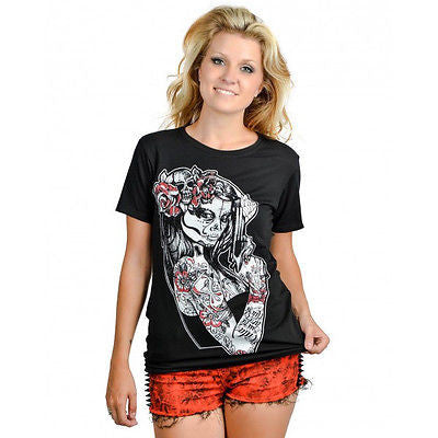 Too Fast Slashback T-Shirt Ann Maria Skull Gun Top Pinup Day Of The Dead Tattoo