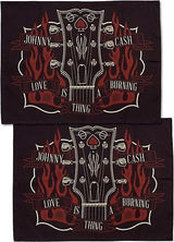 Tattoo Sourpuss Johnny Cash Pillow Cases Set Punk Rockabilly Country Guitar Fire