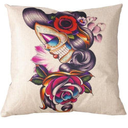 Vintage Gypsy Day Of The Dead Throw Pillow Case Cover Punk Tattoo Pinup Geisha