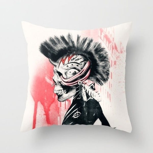Mohawk Hot Topic Anarchy Throw Pillow Case Cover Punk Rock Tattoo Skull Misfits