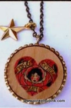 Tattoo Flapper Rose Wood Necklace Punk Vintage Pinup Spitfire Girl Steampunk Emo