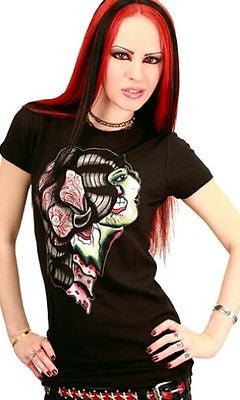 Day Of The Gypsy Dead Zombie Flapper Tattoo Rockabilly Punk Goth Tee Shirt