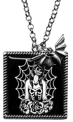 Webbed Dead Girl Mourning Necklace Bat Sourpuss Tattoo Pinup Punk Retro Gypsy