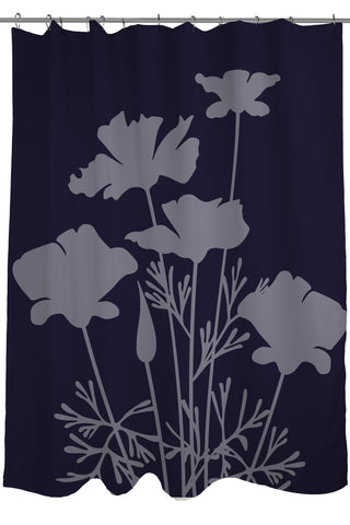 Sale The Floral Collection Printed Shower Curtain Size 71 X74 Dark Blue And Grey Flowers