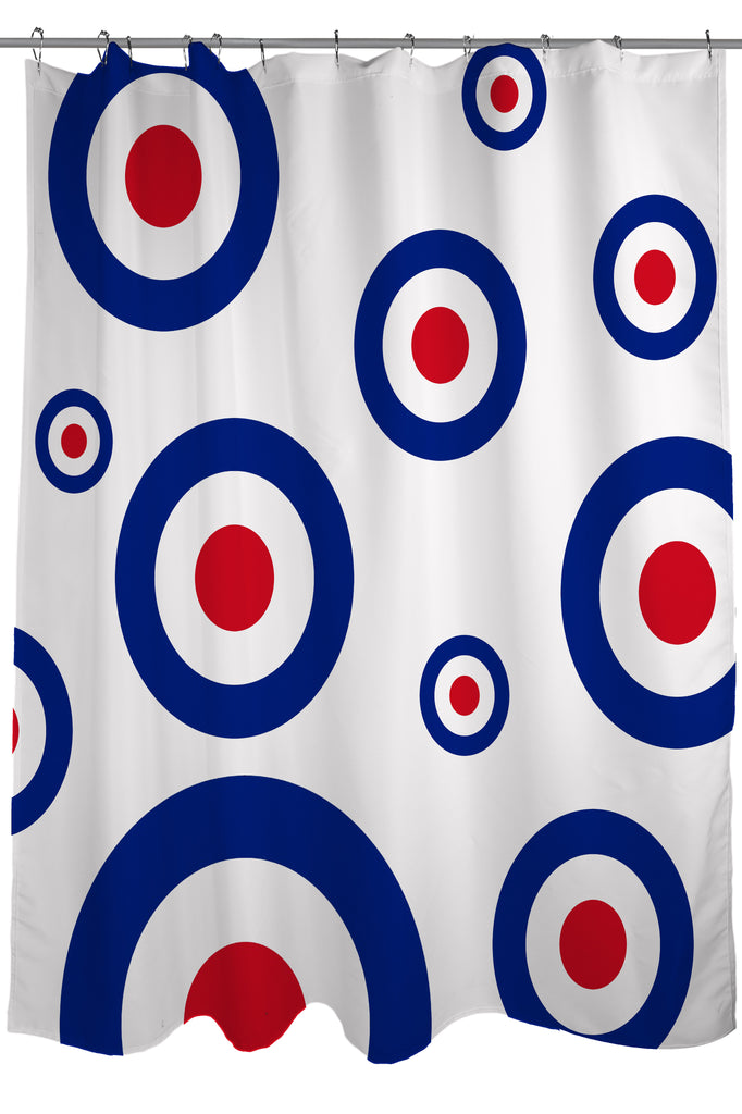 Mod Fashion Revival Shower Curtain Fabric Size 71 X 74 Blue On White