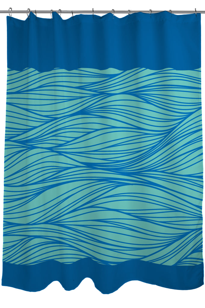 Geometric Patterns Printed Shower Curtain Fabric Size 71 X 74 Blue And Turquoise