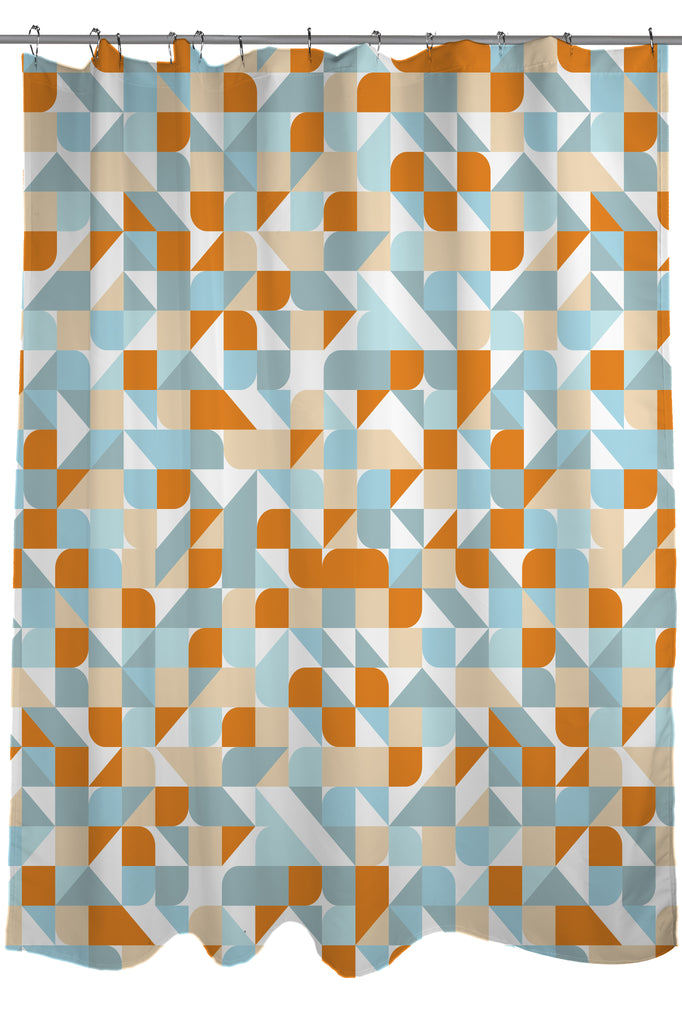 Geometric Patterns Printed Shower Curtain Fabric Size 71 X 74 Blue Burnt Orange White And Tan