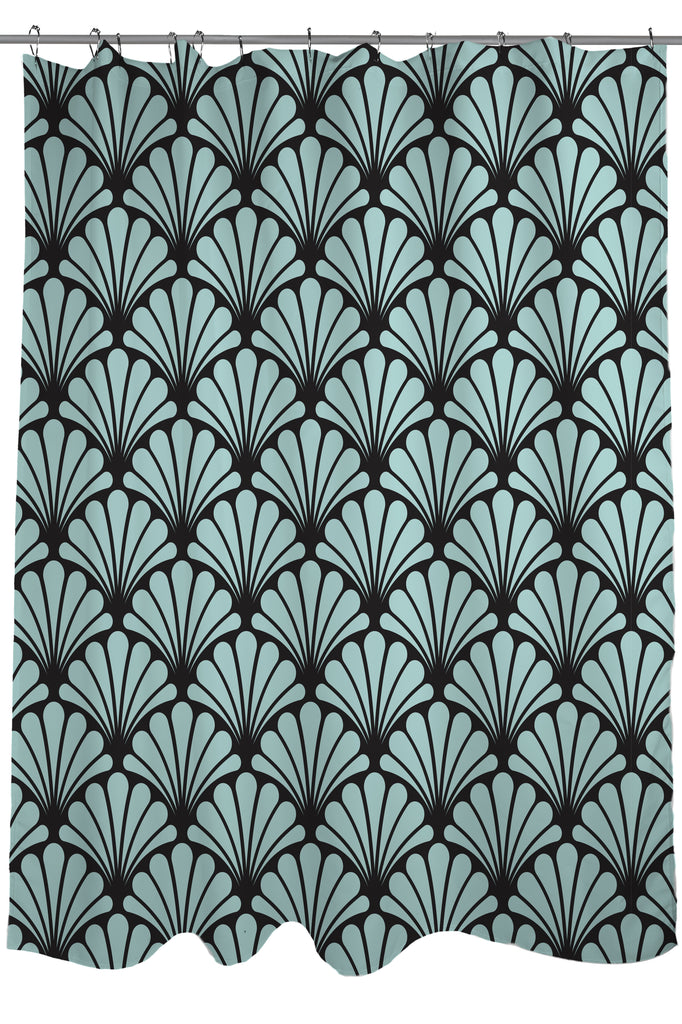 Geometric Patterns Printed Shower Curtain Fabric Size 71 X 74 Green Seafoam And
