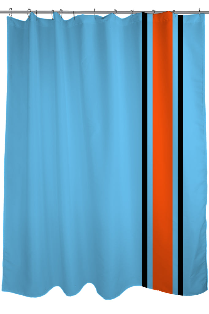 Auto Racing Stripes Shower Curtain, Fabric, Size 71 X 74, Light Blue,