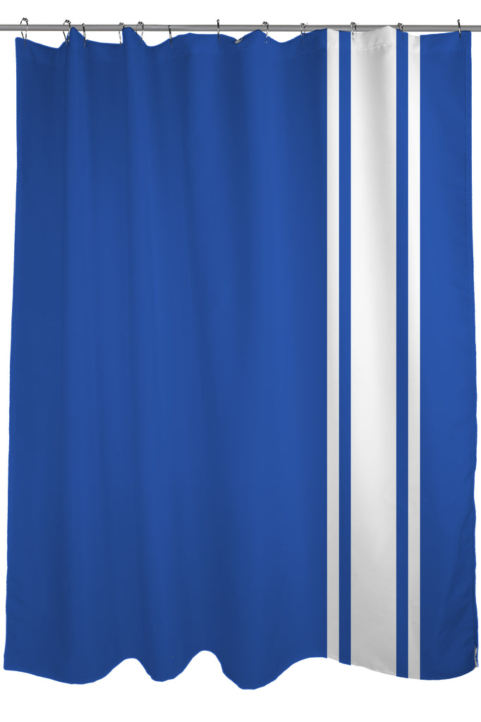 Auto Racing Stripes Shower Curtain, Fabric, size 71 x 74, Blue and ...