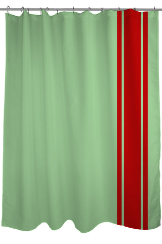 Sale Auto Racing Stripes Shower Curtain Fabric Size 71 X 74 Light Green And