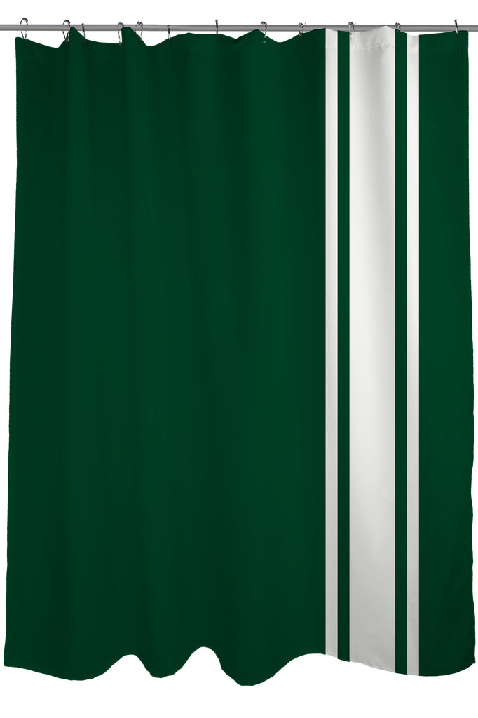 Auto Racing Stripes Shower Curtain, Fabric, Size 71 X 74, British Racing  Green