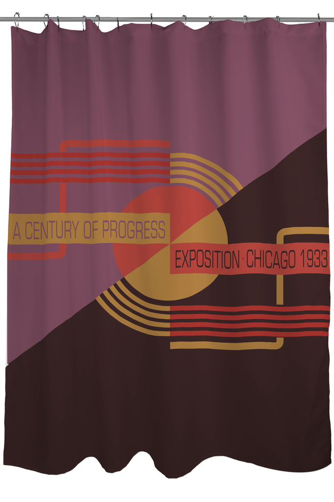 Art Deco Shower Curtain Fabric Special Edition A Century Of Progress Exposition Chicago 1933 Size 71 X 74 Purple And Tan