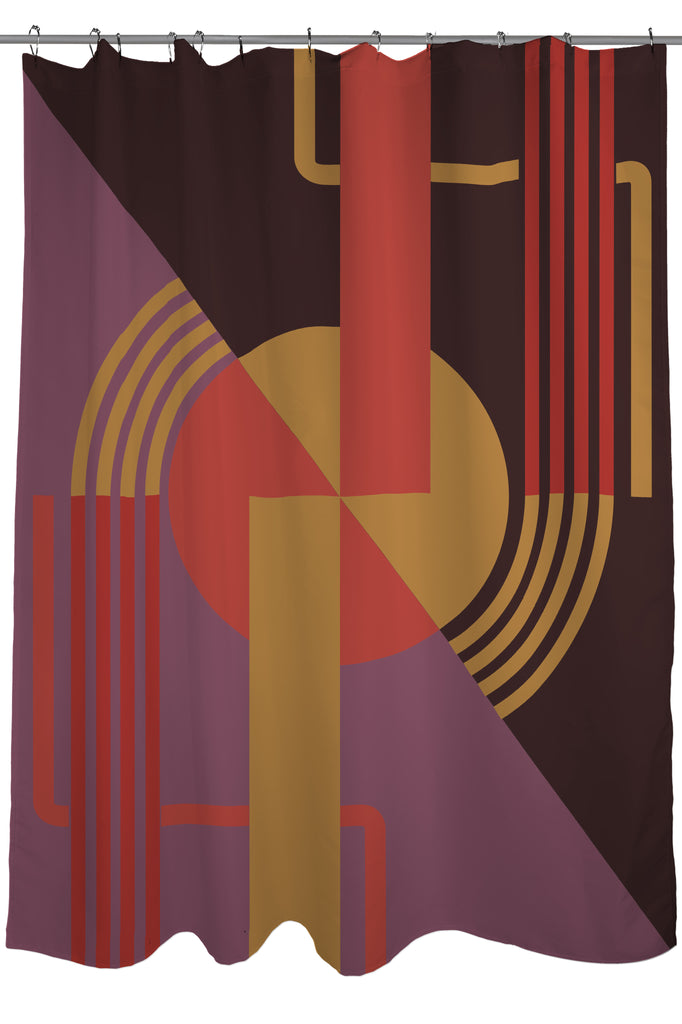 Art Deco Shower Curtain Fabric Size 71 X 74 Purple And Tan