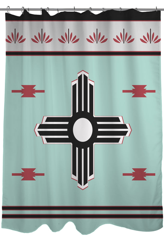 The Zia Sun Symbol Printed Shower Curtain Size 71 X 74 Tiffany Blue And