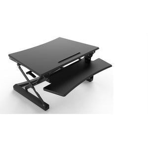 Canary - Black Desk with Adjustable Height Standing Desk Converter - myergodesk