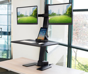 Mount-It! -  Sit-Stand Desk Converter for Dual Monitors MI-7952 - myergodesk