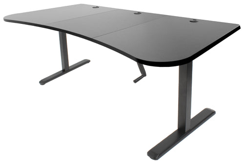 Crank Adjustable Standing Desk - VIVO - DESK-KIT-1M1B Black Manual Desk Frame + 3 Section Table Top