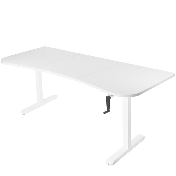 "Crank Adjustable Standing Desk - VIVO - DESK-KIT-1M1W  Crank Height Adjustable 63"" Desk - White"