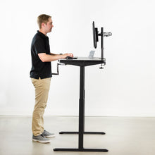 "Load image into Gallery viewer, Crank Adjustable Standing Desk - VIVO - DESK-KIT-MB4B  White 43"" X 24"" Manual Height Adjustable Desk"