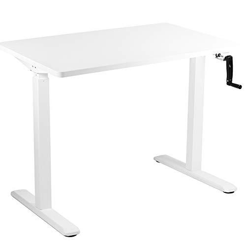 Crank Adjustable Standing Desk - VIVO - DESK-KIT-MW4W  White 43