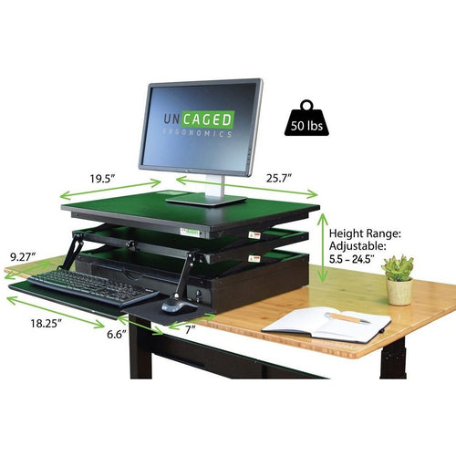 Uncaged - Changedesk Height Adjustable Standing Desk Conversion - myergodesk