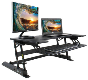 "VIVO - DESK-V000B 36"" x 22"" VIVO Height Adjustable Standing Tabletop Desk Riser Gas Spring - MyErgoDesk.com"