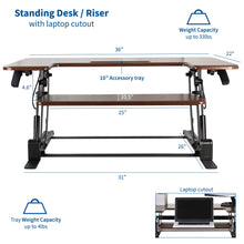 "Load image into Gallery viewer, Desk Converters - VIVO - DESK-V000VD 36"" Dark Wood Standing Desk Riser"