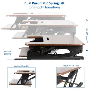 "Desk Converters - VIVO - DESK-V000VD 36"" Dark Wood Standing Desk Riser"