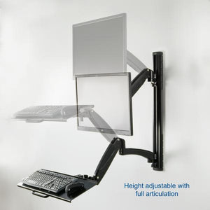 "VIVO - STAND-SIT1K Black Sit-Stand Wall Mount Gas-Spring Monitor & Keyboard Workstation for Screens up to 27"" - myergodesk"