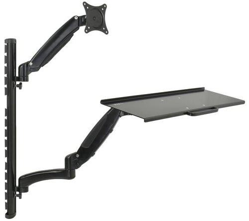 VIVO - STAND-SIT1K Black Sit-Stand Wall Mount Gas-Spring Monitor & Keyboard Workstation for Screens up to 27