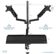 Load image into Gallery viewer, VIVO - STAND-SIT2B Black Dual Monitor Sit-Stand Workstation Mount with Pneumatic Spring - myergodesk