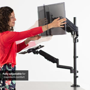 VIVO - STAND-SIT2B Black Dual Monitor Sit-Stand Workstation Mount with Pneumatic Spring - myergodesk